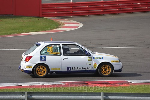 Luke Bannister in the BRSCC Fiesta Championship at Silverstone, April 2016