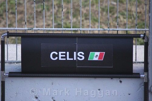 Alfonso Celis' pit board during Formula One Winter Testing 2016
