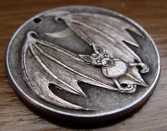 """'Bat' pendant carving in 1964 Silver Half $ • <a style=""""font-size:0.8em;"""" href=""""http://www.flickr.com/photos/72528309@N05/24577698615/"""" target=""""_blank"""">View on Flickr</a>"""