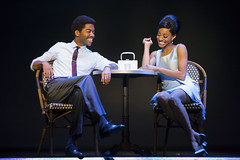 """Julius Thomas III (Berry Gordy) and Allison Semmes (Diana Ross) in the Broadway Sacramento presentation of """"Motown The Musical"""" at the Sacramento Community Center Theater May 18 – 29, 2016. Photo by Joan Marcus."""