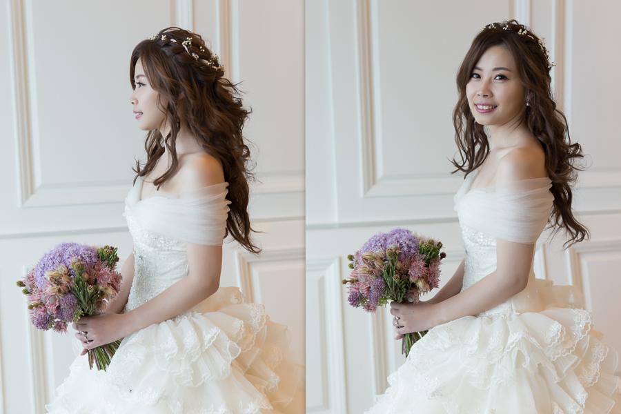 新秘Yuki│新秘推薦│白紗│長捲髮│鮮花造型│小碎花│新娘髮型