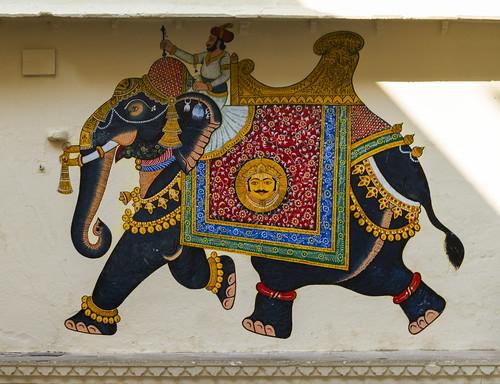 Wandbemalung im City Palace, Udaipur