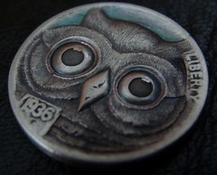 "'Owl' Hobo nickel/coin carving • <a style=""font-size:0.8em;"" href=""http://www.flickr.com/photos/72528309@N05/24617214446/"" target=""_blank"">View on Flickr</a>"