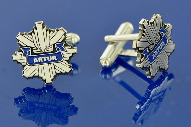 personalizowane spinki mankietowe srebrne policja
