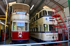 Trams in the shed
