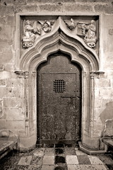 "Door at the ""holy grail"" chapel, Cathedral, Valencia, Spain"
