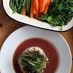 Port and Blue Ox Cheek with cauliflower puree and seasonal veggies
