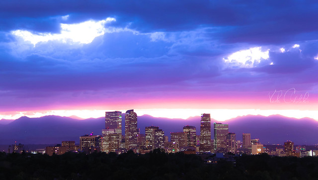 Neon lavender clouds above Denver, Colorado