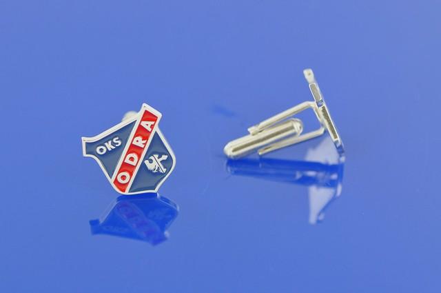 srebrne spinki mankietowe z logo klubu sportowego  na zamówienie indywidualne