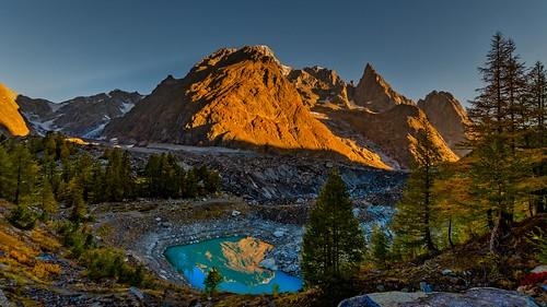 Mont Blanc et lac de Miage