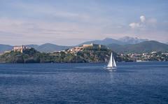 Leaving Island Of Elba, view on the castle of Portoferraio