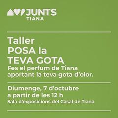 Quina olor fa #Tiana? Et convidem a fer el perfum del poble. Posa la teva gota! Aquest diumenge a les 12 h, a la sala d'exposicions del Casal, amb Esperança Casas, l'única artesana de perfums naturals de #Catalunya. #SomPoble