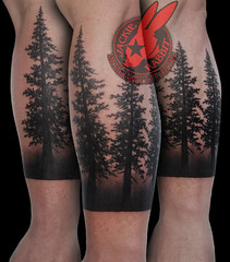 Pine Tree Forest Silhouette Realistic Black Work Ink Sleeve Tattoo by Jackie Rabbit