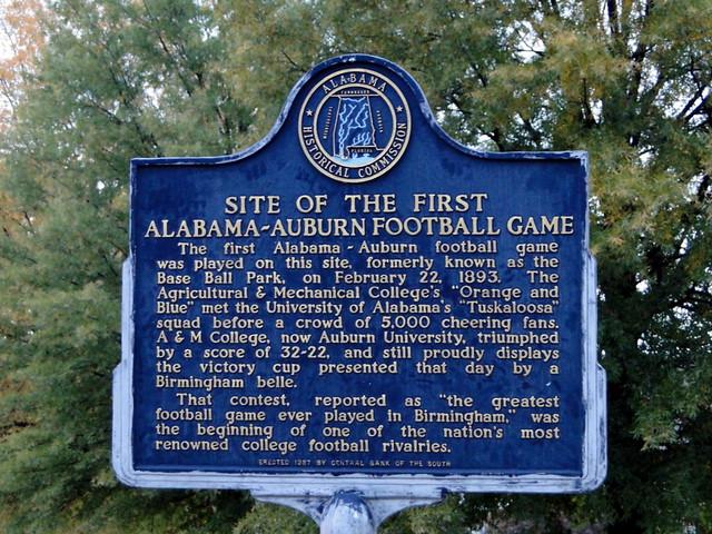 Site of 1st Alabama-Auburn Football Game, Birmingham, Alabama