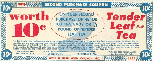 Tender Leaf Tea Coupon, Front