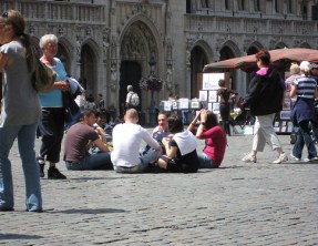 People sitting in the Grand Place by Londo Mollari