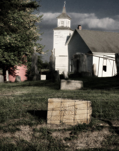 Churchyard with undead man in Missouri. Copyright Liberty Images/Jen Baker