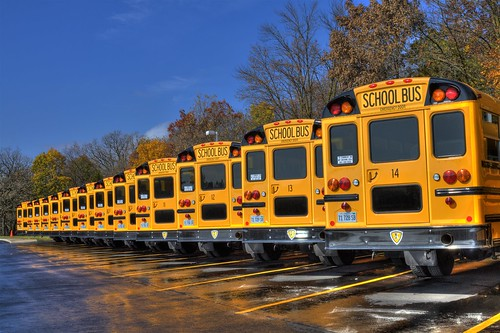 School buses in the fall