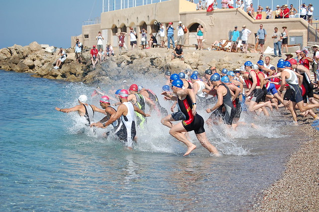 The start of the Rhodes 2007 Island Games triathlon