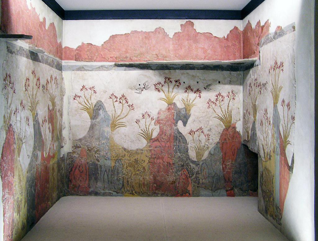 Pintura mural del sector Delta Fresco de la Primavera yacimiento arqueológico en Thera Acrotiri Santorini Museo Nacional de Atenas Grecia 187