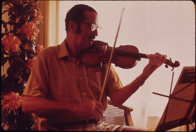Mr. Ben Ratner in His Apartment in the Century Village Retirement Community. Mr. Ratner, a Former New York Wholesale Salesman, Is Also a Professional Musician.