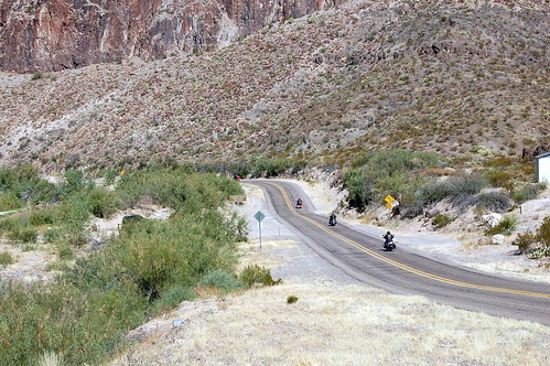 bikers on the road in West Texas
