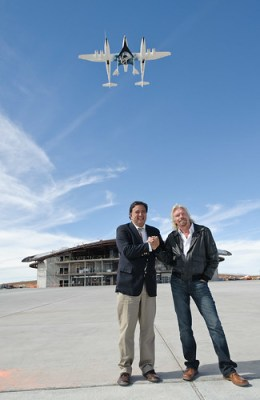 Sir Richard Branson and Governor Richardson at Spaceport America Runway dedication. Photo by Jeffrey Vock