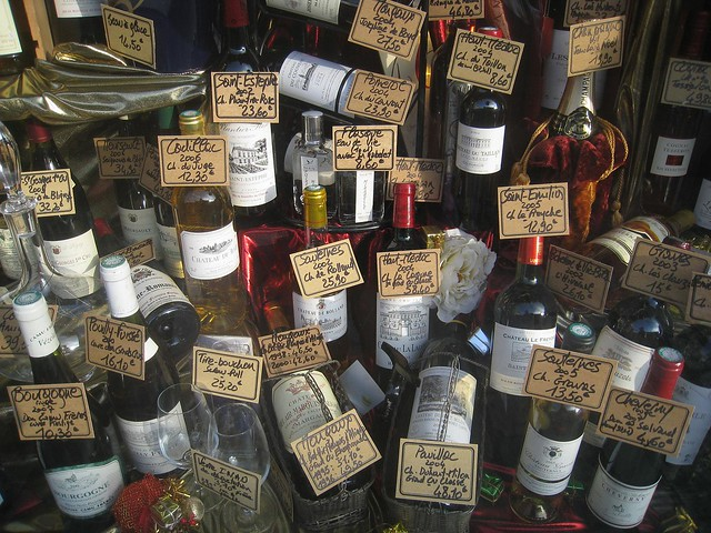 Wine for sale at a Parisian shop
