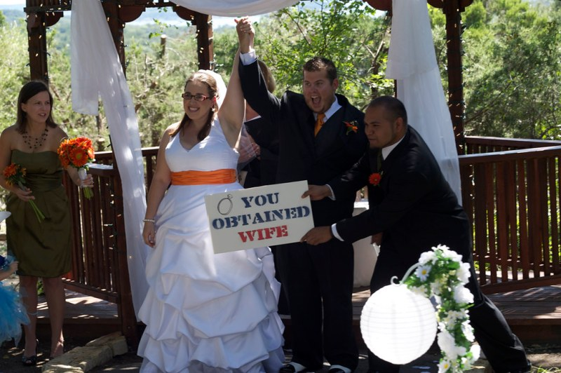 """Once she announced us Husband and Wife the Zelda Item sound played and Eric's Bestman held up a """"You obtained Wife"""" Sign."""