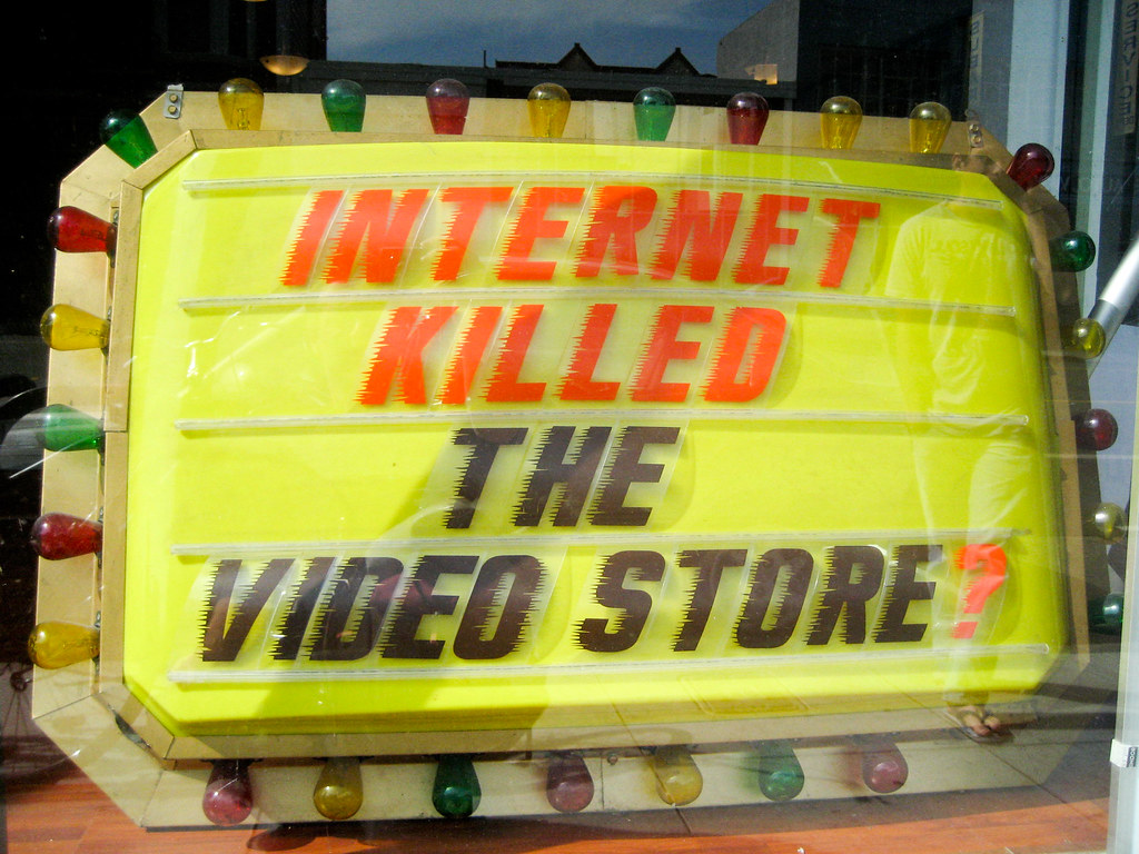 A window display in San Francisco, commenting on the impact of online distribution. By Todd Lappin. CC BY-NC 2.0
