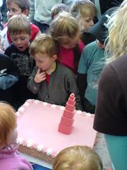 pink tower cake
