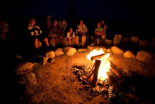 Storytelling round a campfire