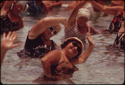 Women in pool exercising