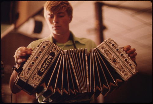 Accordionist in a Polka Band at the Gibbon Ballroom at Gibbon, Minnesota, 20 Miles North of New Ulm...