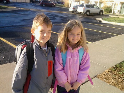 My cute kids ... E's jacket is new
