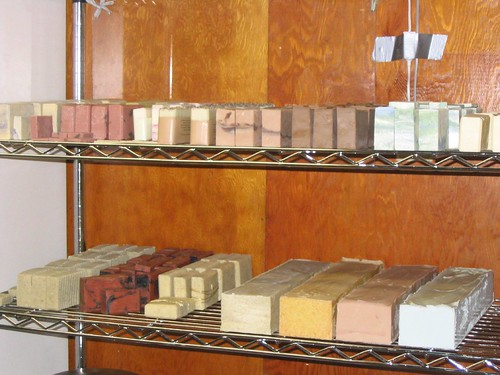 handmade soap log and cut soaps