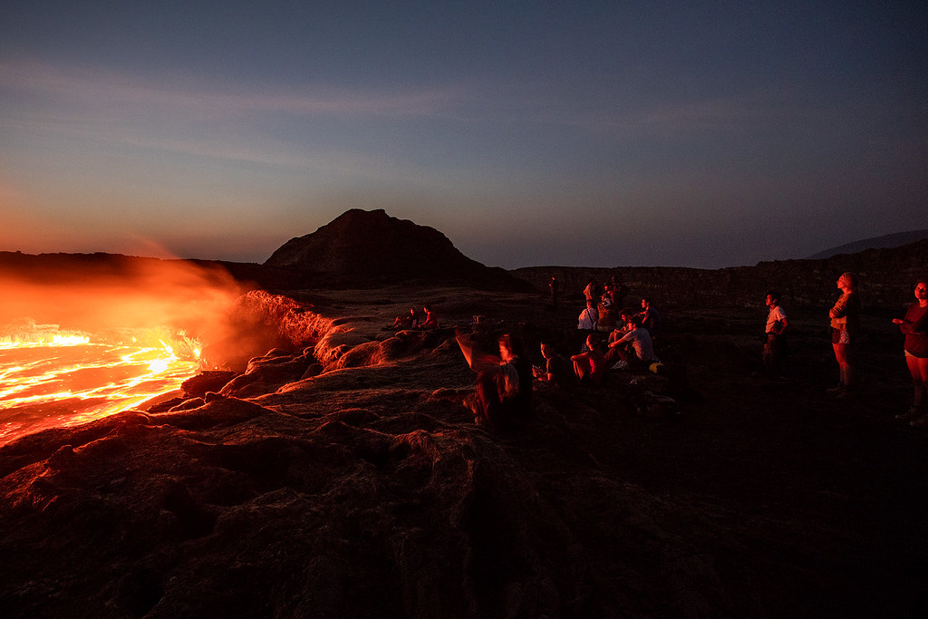 Sunrise at Erta Ale Volcano.