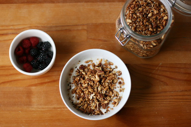 Favorite granola with puffed grains, pecans, maple syrup, and honey on alickofsalt.com