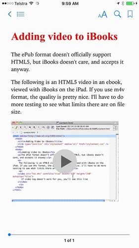 ePub file playing video