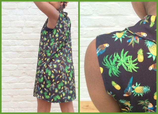 parrot shirt dress (collage) - Bangkok Basic blouse hack