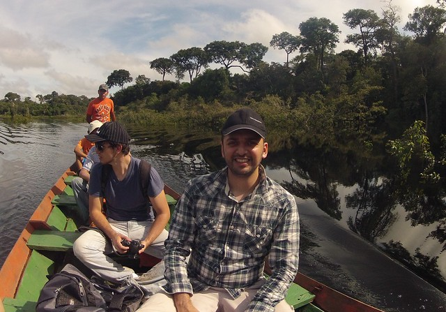 zaid with others canoe amazon