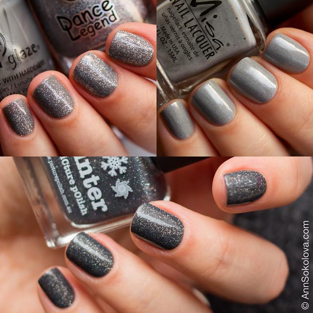 Picture Polish Winter, China Glaze Recycle, Misa Grey Matters swatches Ann Sokolova
