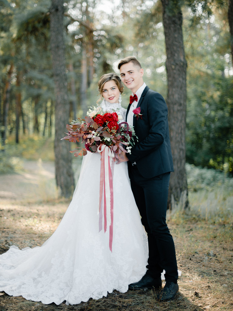 Enchanted Forest Marsala Wedding Amp High Neck Wedding Dress