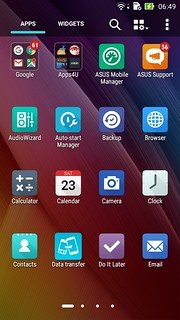 App tray ของ ASUS ZenFone Laser