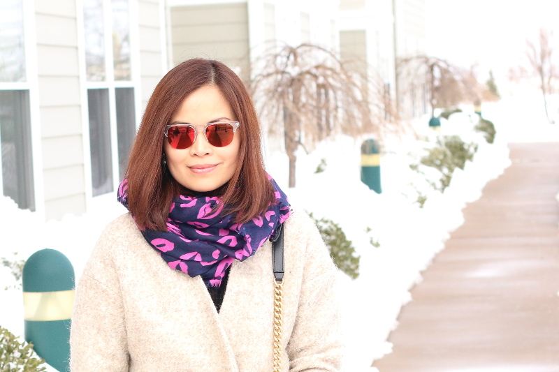 Purple lips scarf, valentines look, kenzo red mirrored sunglasses