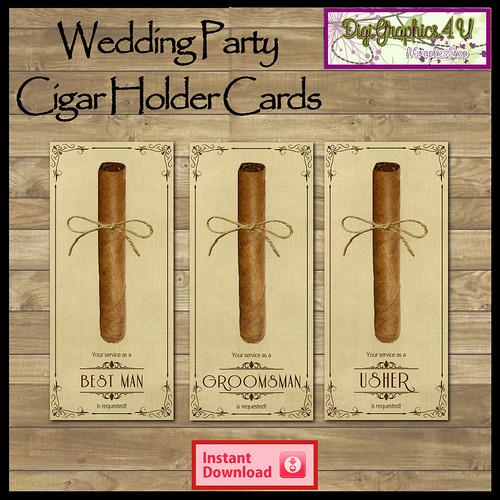 Printable Wedding Party Cigar Holders Card