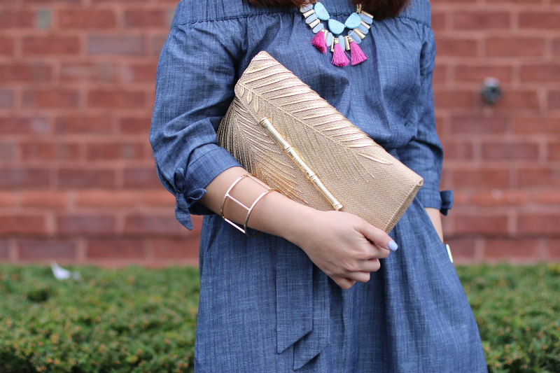 eShakti chambray off-shoulder dress, lilly pulitzer straw clutch