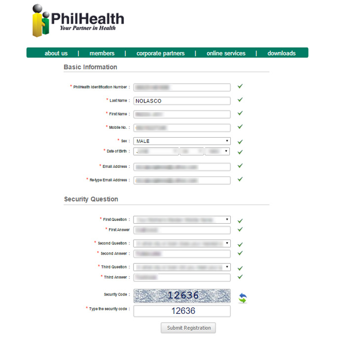 Philhealth online registration - registration form