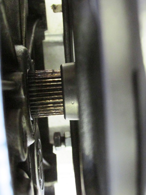 Using Transmission (Left) Input Shaft to Align Clutch Plate (Right)