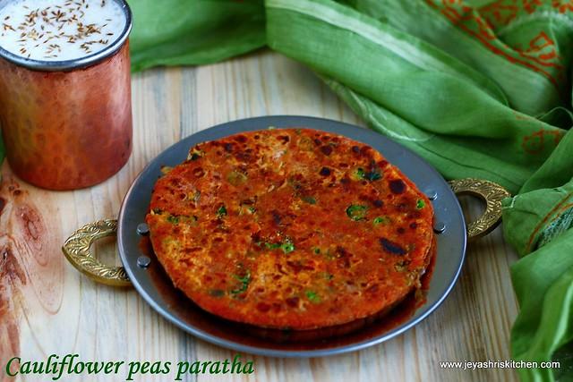 Cauliflower peas paratha